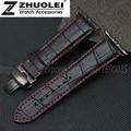 38mm 42mm de cuero Genuino correa de reloj pulsera para apple adaptador de bambú plantilla mariposa hebilla de correa de plata con negro