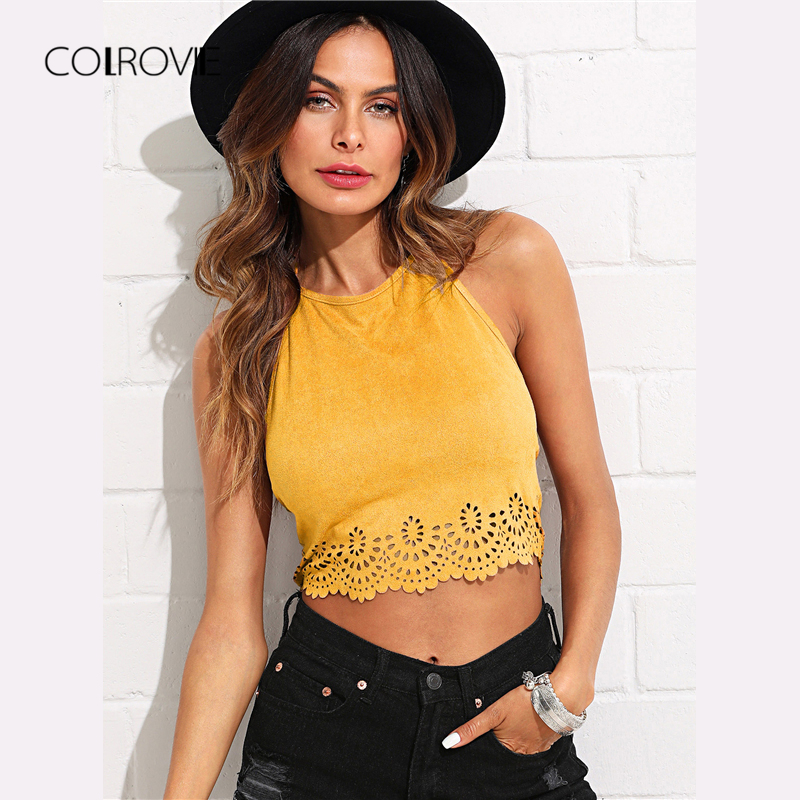 COLROVIE Scallop Laser Cut Suede Halter Tank Top Summer Yellow Cut Out Backless Sexy Cami Hollow Out Vacation Women Crop Top|Camis|   - AliExpress