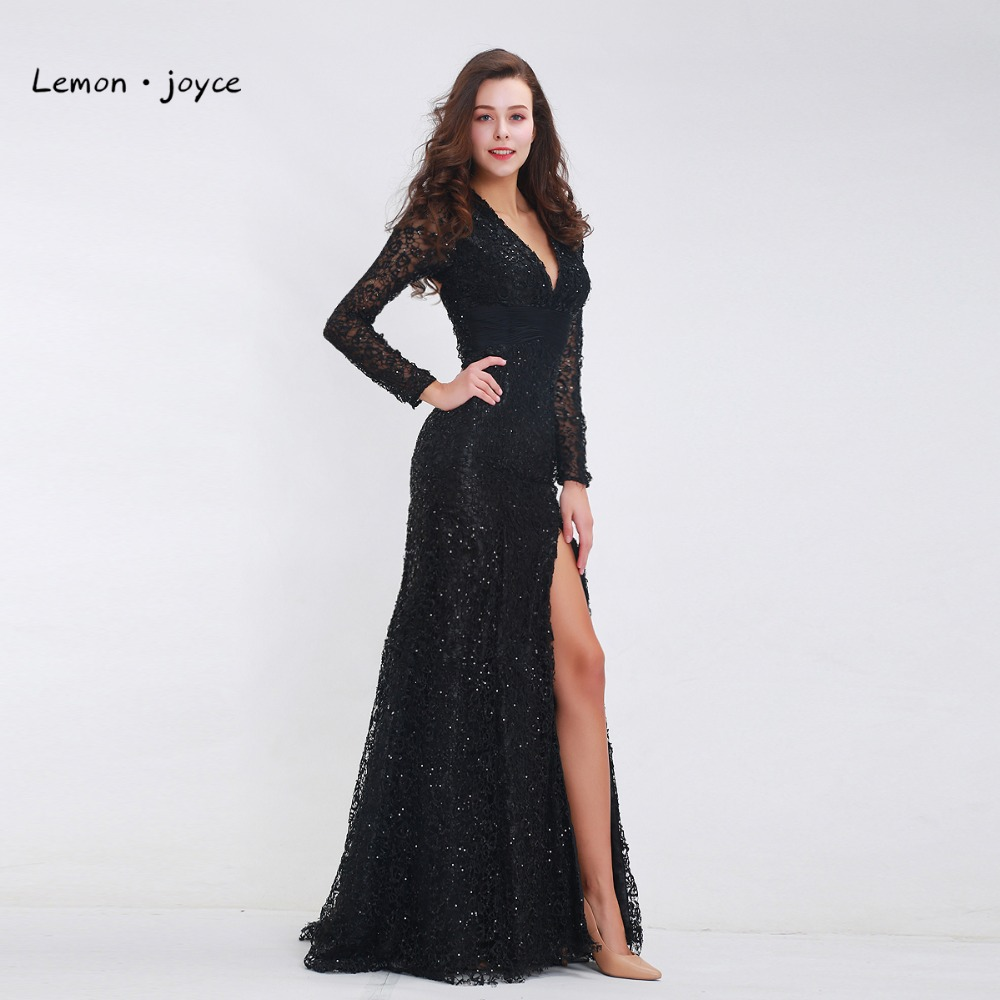 שמלות ערב Formal Black Evening Dresses with Long Sleeves V-neck Lace  Illusion Backless High Split Floor Length Party Prom Dress Plus Size 82f19a7ff5b5