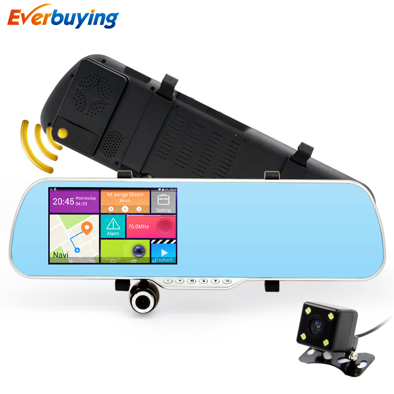 New 5 inch IPS Car Rearview Mirror DVR Camera Dual Lens Android 4 4 Car Camera