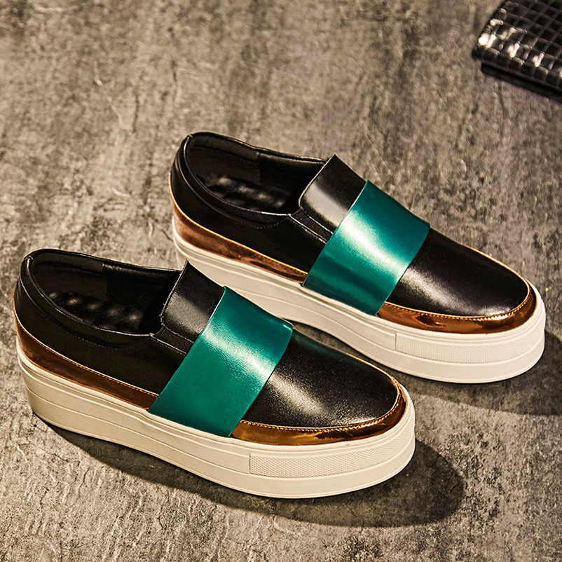 ФОТО 2017 Platform Shoes Woman Genuine Leather Loafers Women Luxury Fashion Creepers Woman brand Loafer Shoes Ladies Luxury