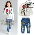 Girls Rose Jacquard Jeans Pant Set Girl Kids Cotton Clothes 3 Pieces Children Suit White Flower Coat And Trousers Tshirt Suit