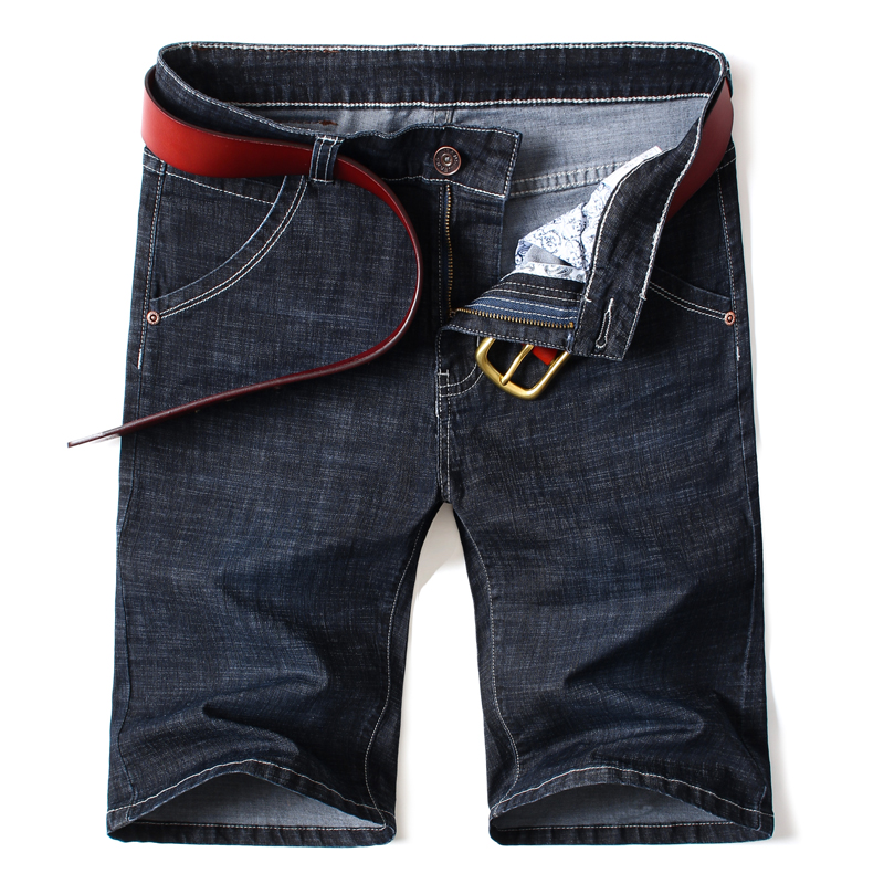 Denim Shorts Jeans Business Black Plus-Size Casual Summer Brand Blue New Stretch Male