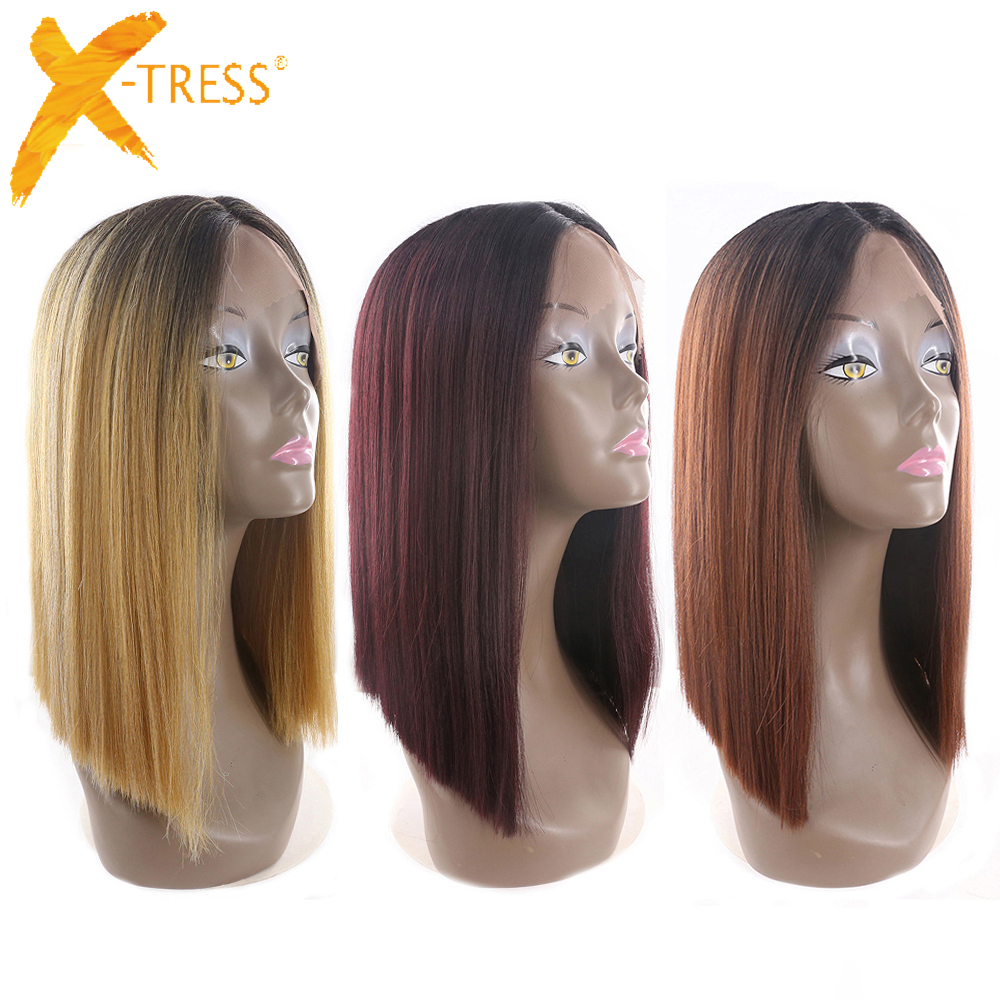 Ombre Black Blonde Red Color Short Bob Lace Front Synthetic Hair Wigs X-TRESS Yaki Straight Middle Parting Blunt Wigs For Women