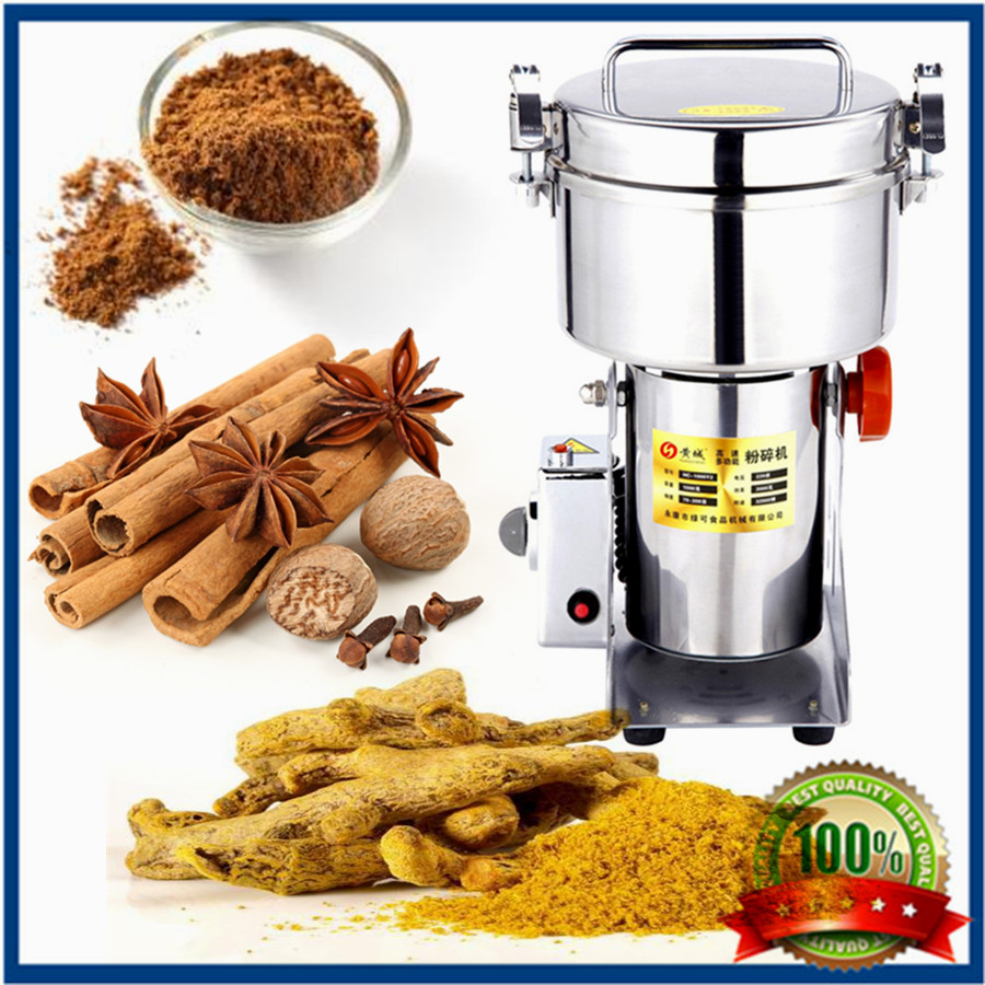 1500g large output  herb/grain/rice powder crusher swing type stainless steel grinder mill electric spices grinder machine