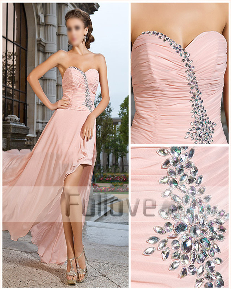 New Coral Chiffon Sweetheart Crystal   Prom     Dresses   High Low Side Slit Formal Party Gown Abendkleider Kaftan Vestido De Fiesta