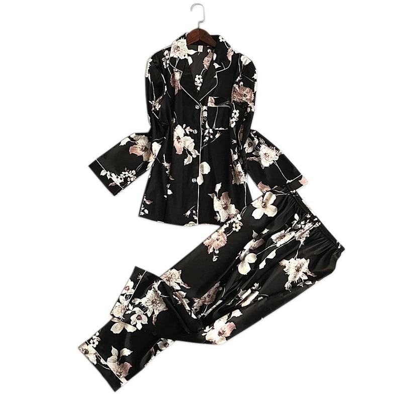New Sexy Floral satins silk   pajamas     sets   women fashion flower spring long sleeve pyjamas nightwear silk satin women pijama mujer