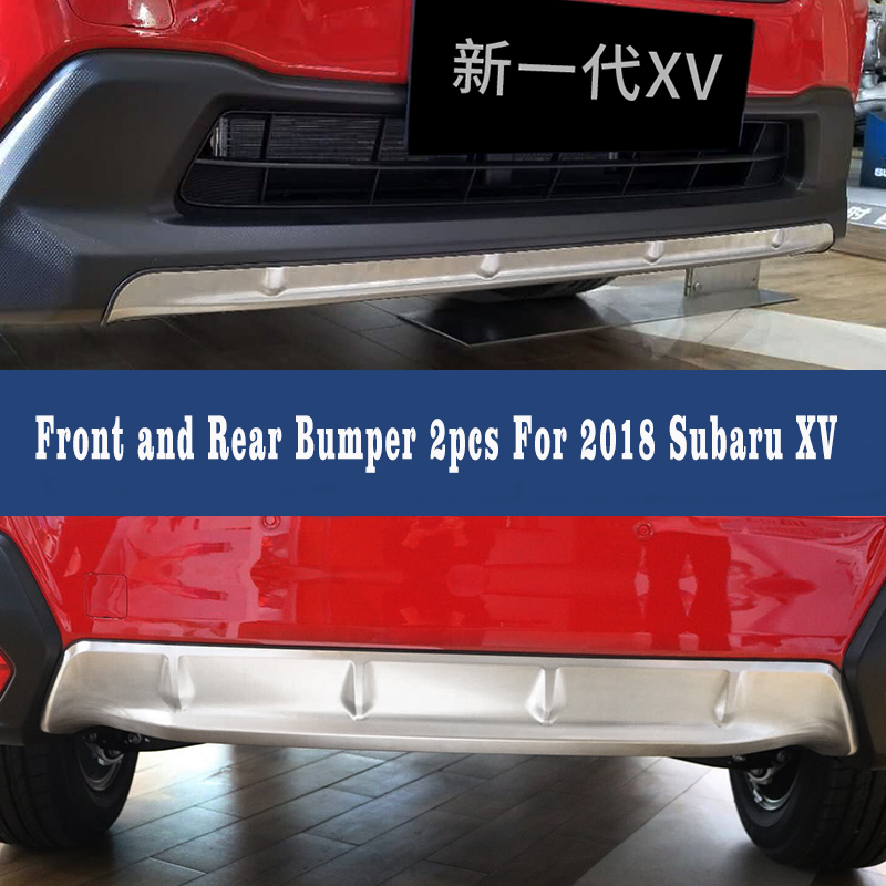 Car Styling For Subaru XV GT3 GT7 2017 2018 Stainless Steel Front & Rear Bumper Skid Protector Guard Plate Cover Trims 2pcs high end 2pcs front or back bumper cover stickers protector guard 3d streamline for mitsubishi asx bumper strip