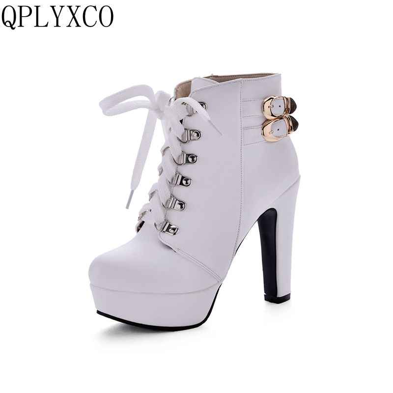 QPLYXCO 2017 New Big size 34-50 ankle boot short Autumn winter Sexy Women's lace up high heels (12cm) wedding Party shoes 3872