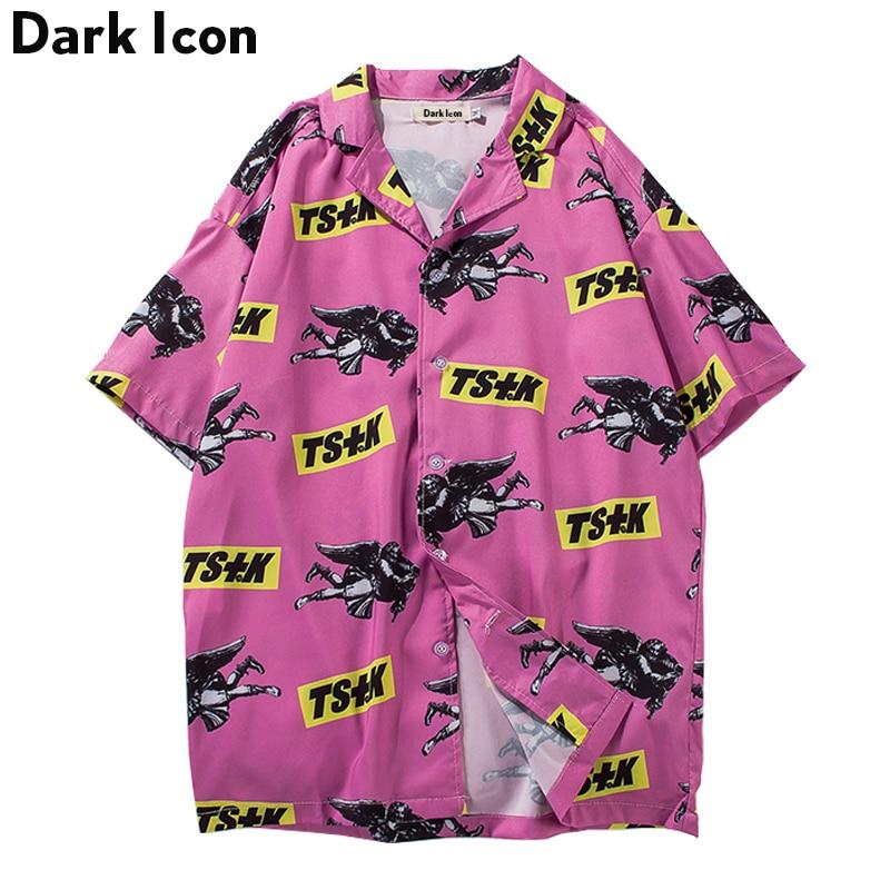 Turn-down Collar Hawaii Style Men's Shirts 2018 Summer Pink