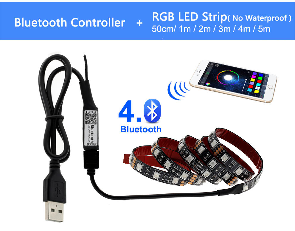 HTB1K5KOO9zqK1RjSZPcq6zTepXaO USB LED Strip 5050 RGB Changeable LED TV Background Lighting 50CM 1M 2M 3M 4M 5M DIY Flexible LED Light.