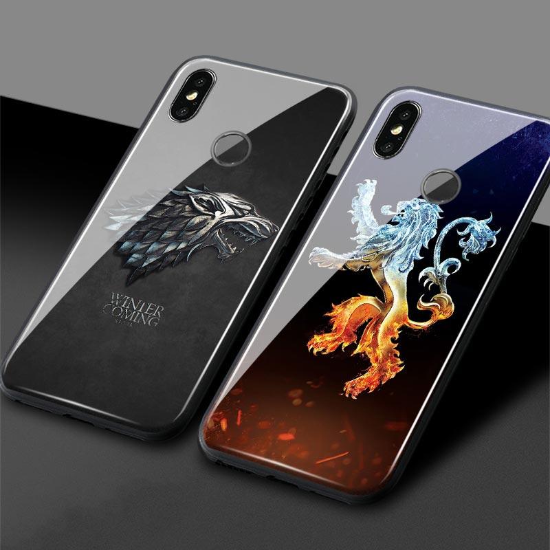 Game of Throne House Targaryen Stark lannister Glass Soft Silicone Phone Case For Xiaomi Mi 6 8 9 SE Mi Mix 2 2S 3 redmi note7Game of Throne House Targaryen Stark lannister Glass Soft Silicone Phone Case For Xiaomi Mi 6 8 9 SE Mi Mix 2 2S 3 redmi note7