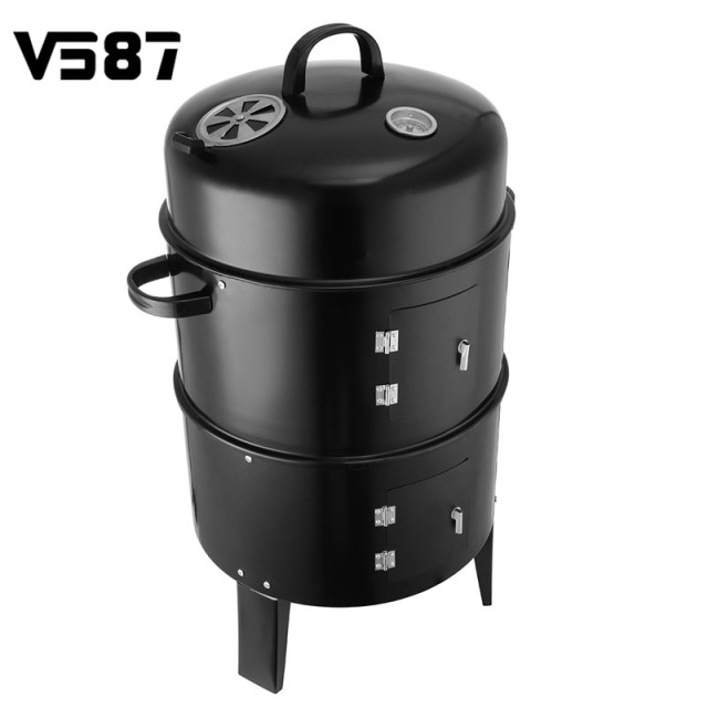 3 In 1 Bbq Grill Roaster Smoker Steamer Steel Barbecue Portable Outdoor Camping Charcoal Stove