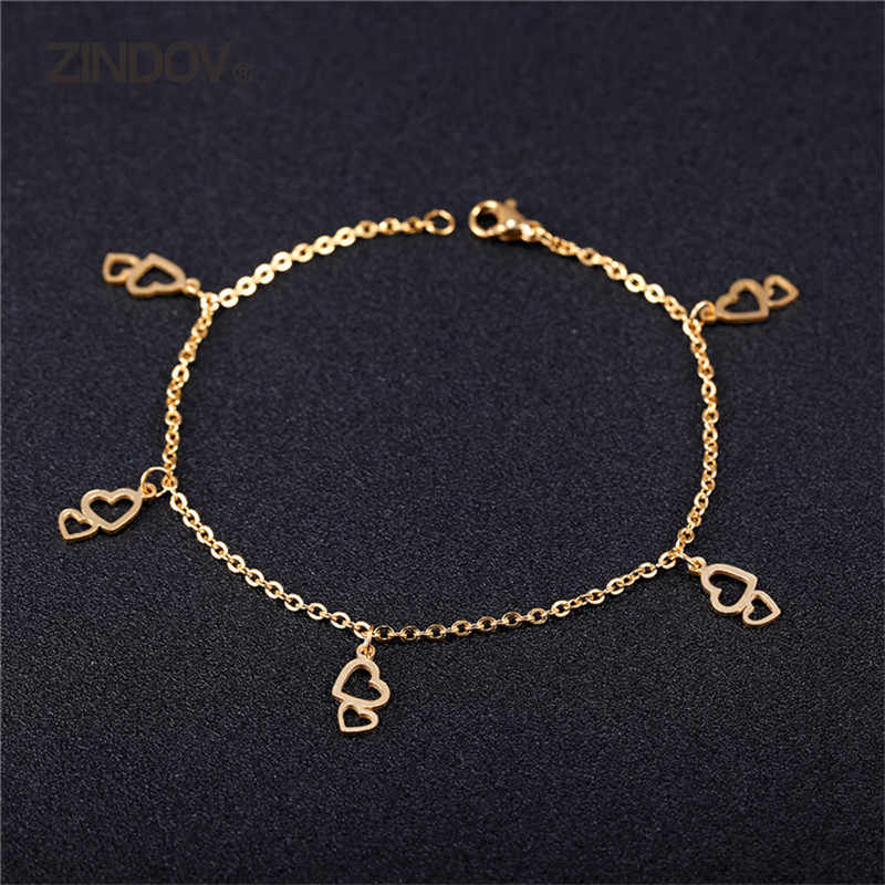 ZINDOV Fashion Leg Jewelry Anklets Women Gold Color Two Heart Romantic Gift Love Barefoot Summer Beach Anklet Ladies Girl New