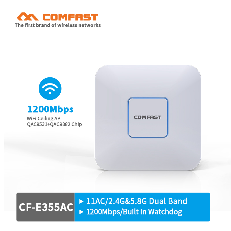 все цены на COMFAST 1200Mbps wireless Ceiling AP router 802.11AC 5.8G+2.4G WiFi Access Point Indoor AP router support 48V POE openwrt ddwrt онлайн