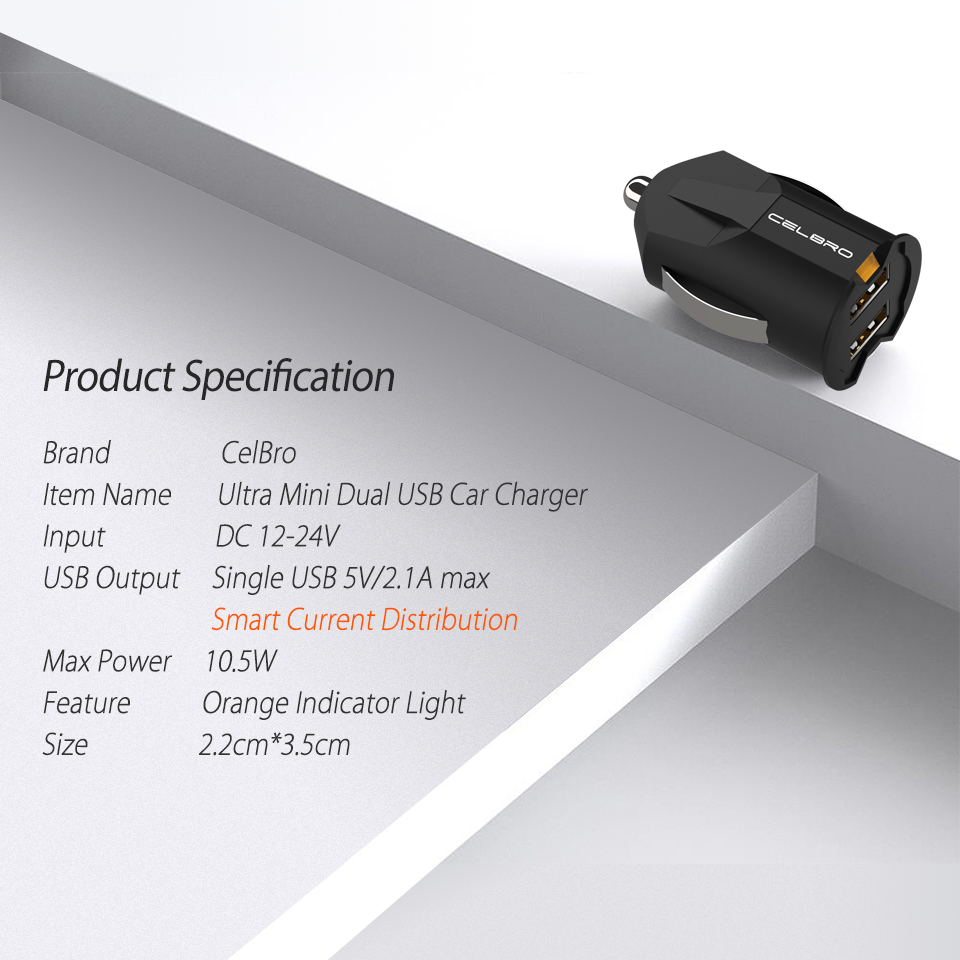 smallest mini dual usb car charger adapter 2a and wall charger with auto charge