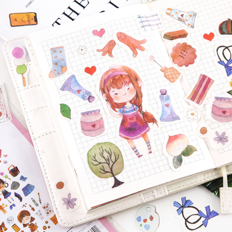 Купить с кэшбэком 40pcs/lot Sweet life series paper sticker package decoration Stickers Diary Decoration Scrapbooking diy seal Sticker Stationery