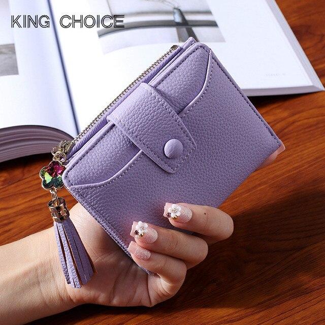 Для женщин кожаный бумажник 2018 Новый Фиолетовый Синий Серый Черный кошелек женский молния Hasp леди держатель для карт элегантный Бриллиантовая подвеска кошелек