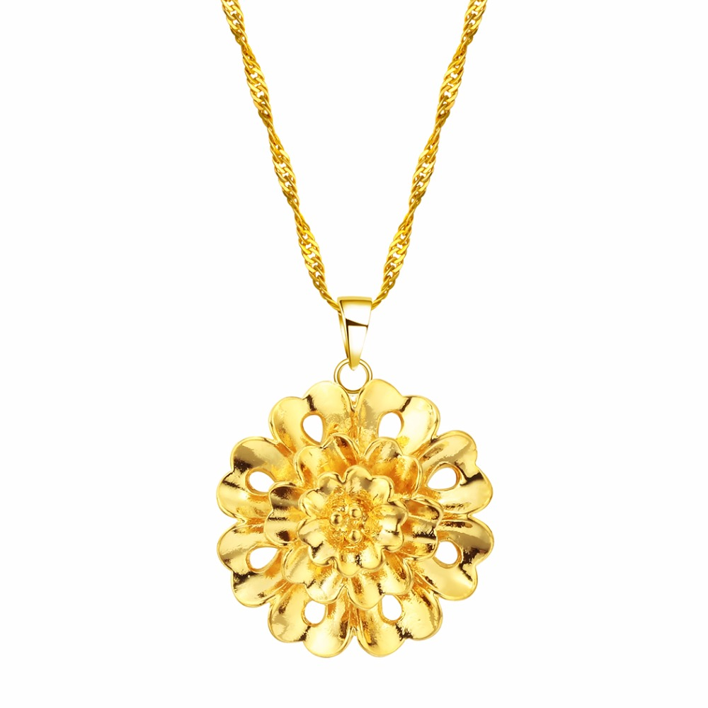 CHENGXUN Flower Pendant Necklace Thin Gold Chain Jewelry Choker Necklace Women Girl Beautiful Trendy s Statement Necklace