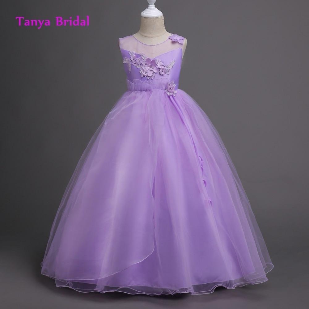 Scoop Tulle Flower Girl Dress Purple White Champagne V Back Applique ...