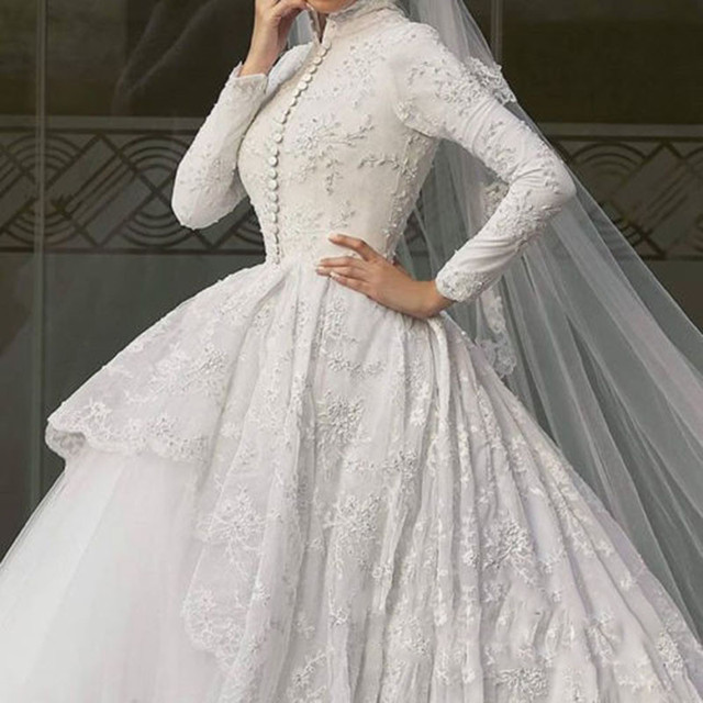 Full sleeve robe de mariage elegant ball gown wedding dress high full sleeve robe de mariage elegant ball gown wedding dress high collar conservative bridal gown wedding junglespirit Choice Image