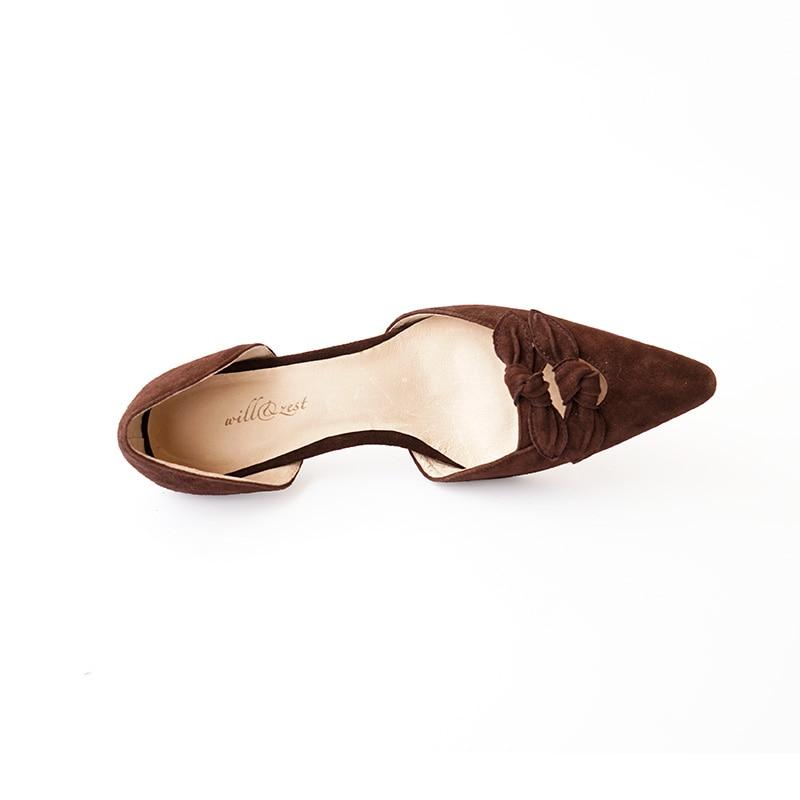 Suede red Zapatos talón Dedo Punta De Medio Vintage Genuino D'orsay Pie beige Los Bombea Brown Cuero Del qx5S0Z0wv