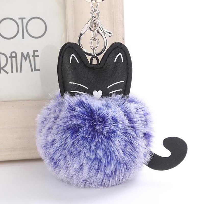 Пушистый кот брелок для ключей помпон переменный цвет поддельный помпон из меха кролика брелок llaveros mujer сумка автомобильный брелок sleutelhanger