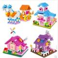 2 jogos/lote frete grátis diy mão das crianças montado blocos de construção de plástico brinquedos puzzle casa princesa bloco de brinquedo para crianças