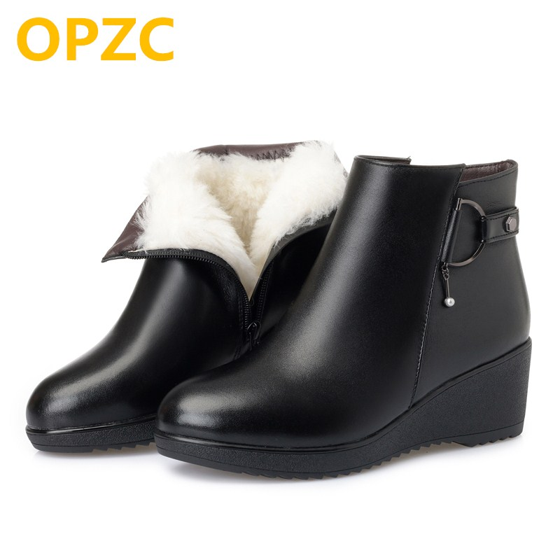OPZC Mother boots wedge big size 41 42 43 women boots shoes, thicken wool snow boots 2018 new genuine leather women winter boots aiyuqi big size 41 42 43 women s comfortable shoes 2018 new spring leather shoes dress professional work mother shoes women