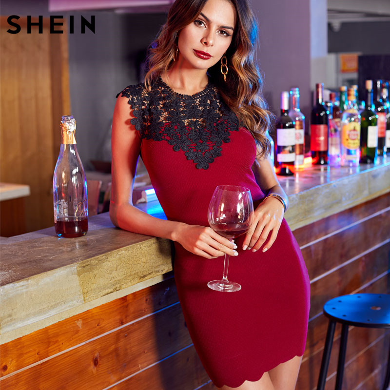 f2f84a443 SHEIN Burgundy Contrast Guipure Lace Shoulder Fitted Dress Party Wear Short  Dresses Sleeveless Sexy Bodycon Dress-in Dresses from Women s Clothing on  ...