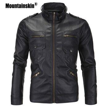 Mountainskin Homens PU Jaquetas de Moda Primavera Gola Casaco Masculino Motocicleta Slim Fit Homens Outerwears Roupas de Marca Homens SA504