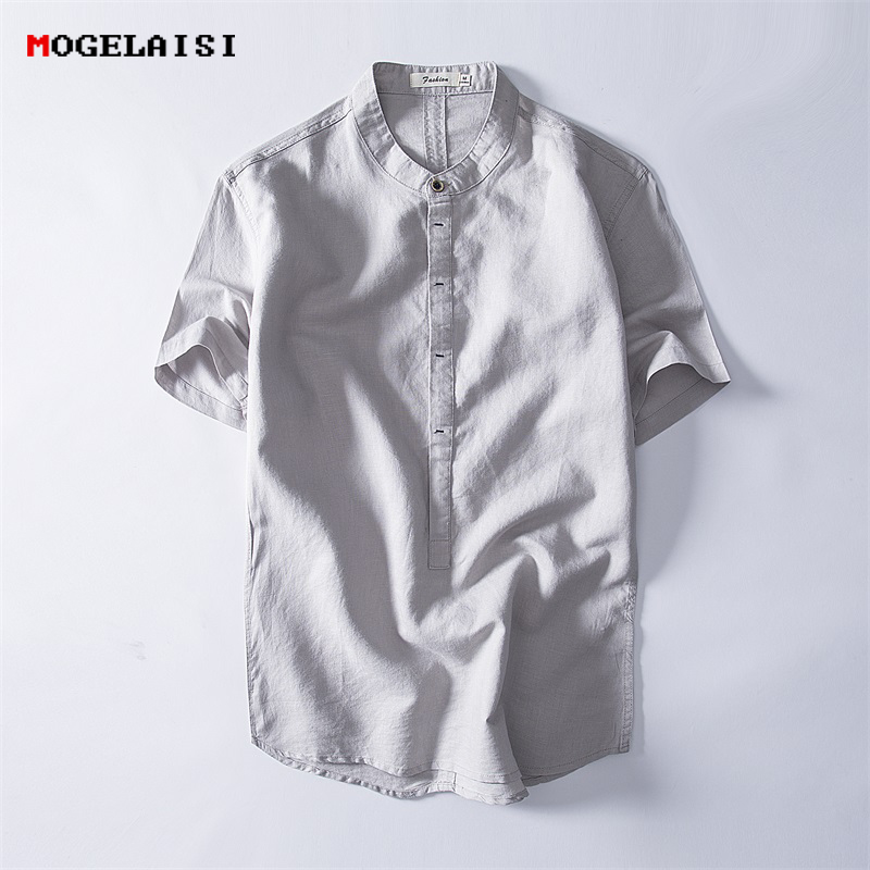 MOGELAISI Chinese style linen shirts men summer short shirt man clothing plus size 4XL breathable comfortable shirts men MG-1841