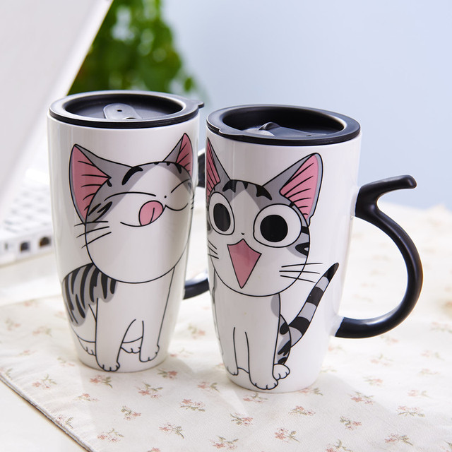 5ac77632293 Cute Cat Ceramics Mug With Lid Large Capacity 600ml Mugs Coffee Milk Tea  Cups Novelty Gifts