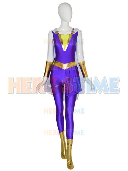 Darla Dudley Suit Shazam Family Cosplay Costume With Cape Marvel Family superheroes Darla purple uniform Lycra