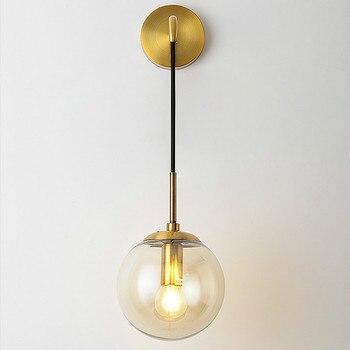 Modern Vintage Metal Glass Ball Wall Lamp Industrial Indoor Lighting Bedside Lamps Indoor Light Sconce Light Fixtures