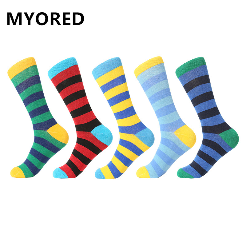 MYORED drop shipping gift socks combed cotton classic stripes business casual streetwear colorful Calcetines de hombre-in Men's Socks from Underwear & Sleepwears