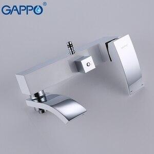 Image 3 - GAPPO Beyaz Lake duş Musluk küvet musluk banyo duş banyo bataryası duvara monte yağış duş seti musluk bataryası Kiti