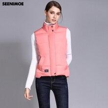 Seenimoe 2019 Femmes Gilet Hiver Coton Gilet Manteau Femmes Solide Couleur S 3XL Femelle Top Qualité Gilet Sans Manches Veste