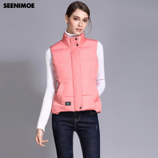 Seenimoe Women Waistcoat Winter Cotton Vest Coat Womens Solid Color S 3XL Female Top Quality Vest Sleeveless Jacket