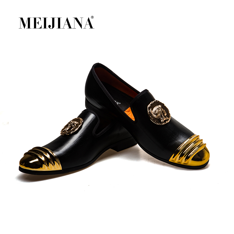 MeiJiaNa Slip On Flats Loafers Male Shoes Fashionable Mens Casual Patent Leather Shoes Comfortable Soft Handmade