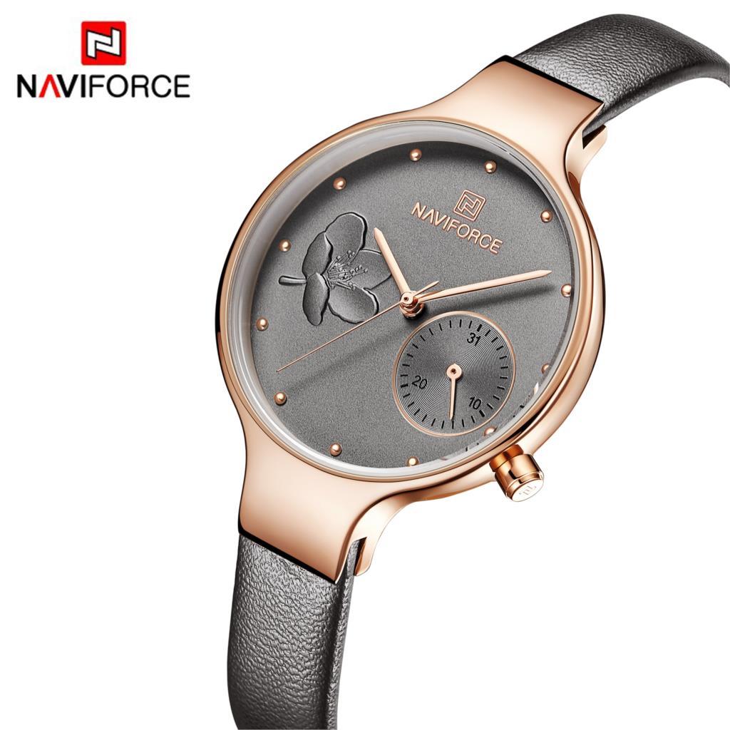 Original NAVIFORCE Women Watch Fashion Casual Simple Quartz Watches Date Leather 3Bar Waterproof Wristwatch Gift 2019 Grey Clock