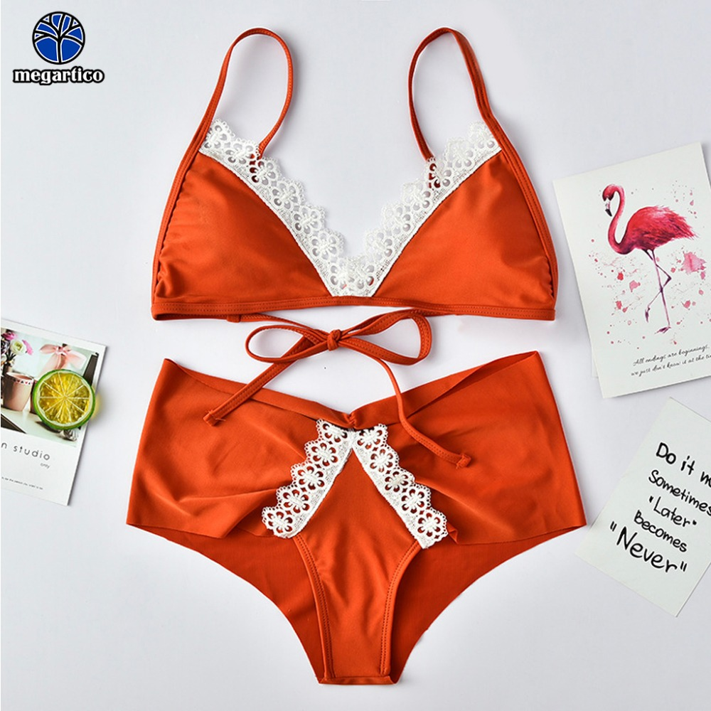 high quality bikini 2019 women Lace beach swimwear high waisted ladies brazilian ruffle swimsuit female triangle swimming suit 1