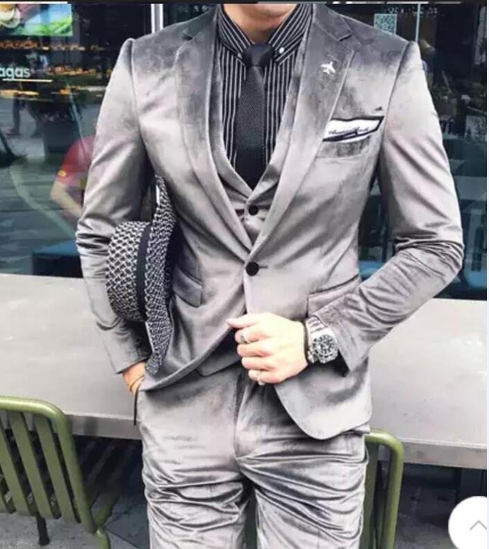 Casual Hommes 3 Fit Mariage De Mode as Un D'affaires Bal Formelle Slim 2018 Pièces Bouton Marié Picture Picture As Solide Costume Smokings Gris UqWzaf