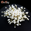 DuoTang Top Quality Romantic Gold Plated Metal Brooches Fashion Elegant Pearl Plant Flower Scarf Pins for Woman Jewelry Gift