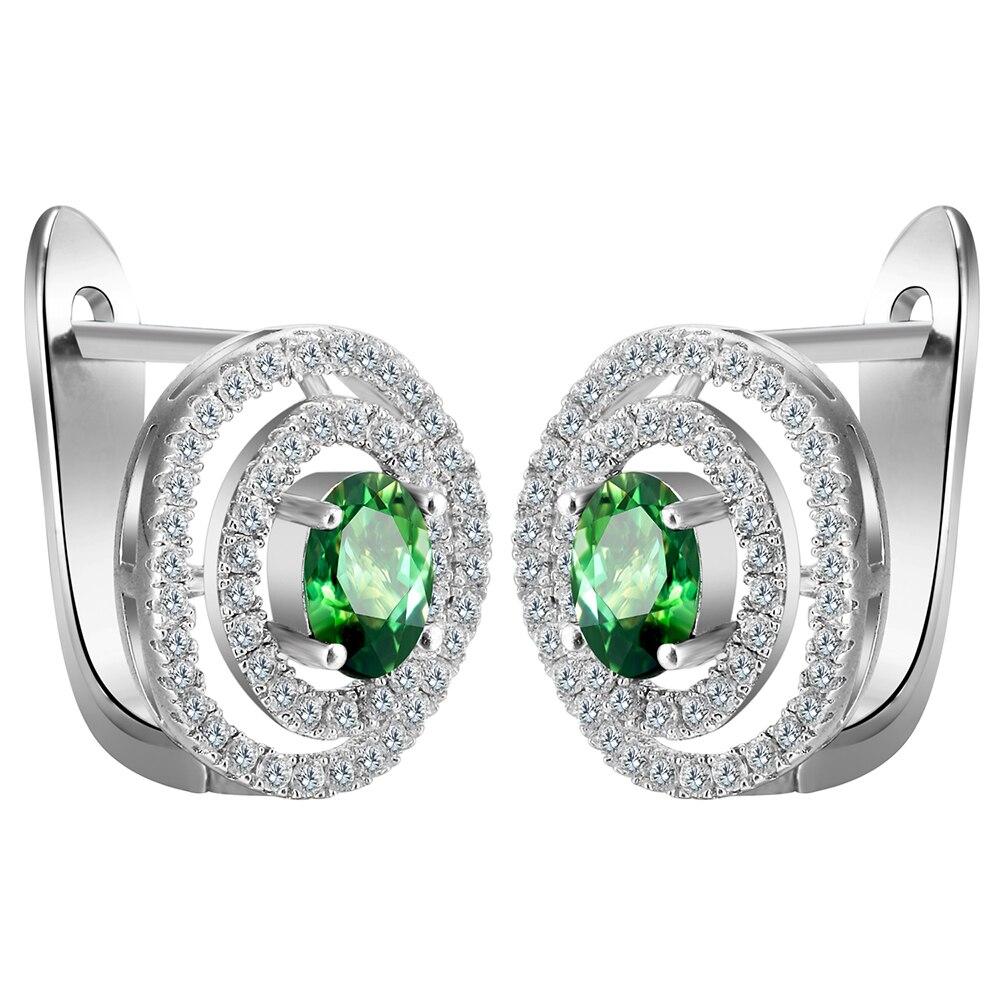 Pretty Silver Plated Large Hoop Earrings Princess Cut Multicolor Green  Zircon Cz Hoop Earrings For Women