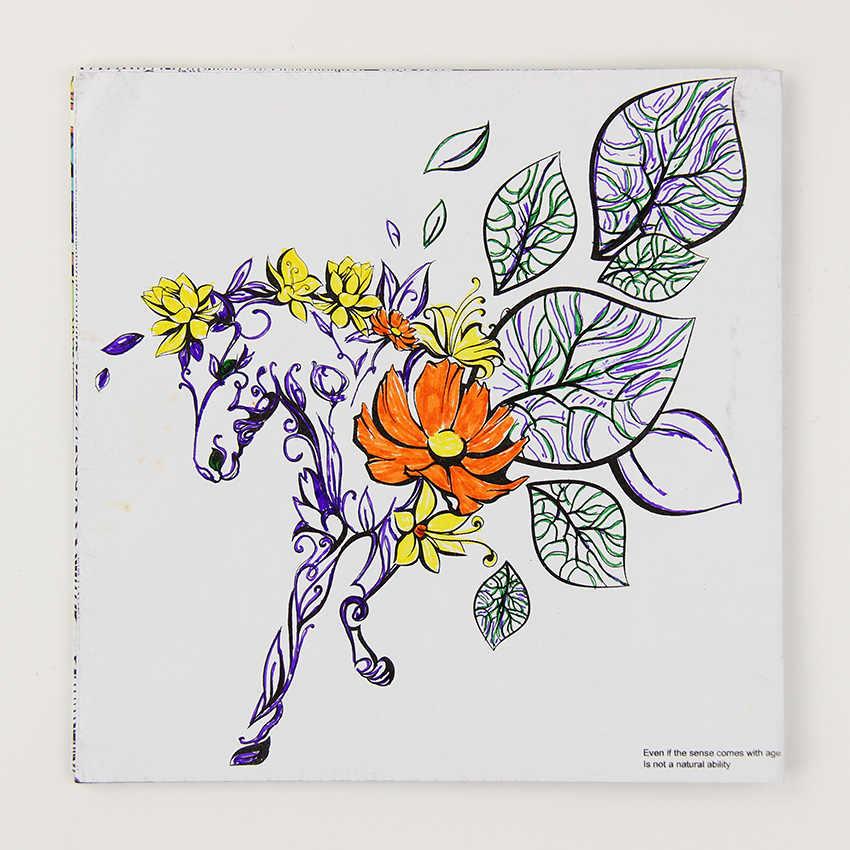 24 Halaman Wonderland Indah Eksplorasi Bunga Buku Mewarnai Lukisan