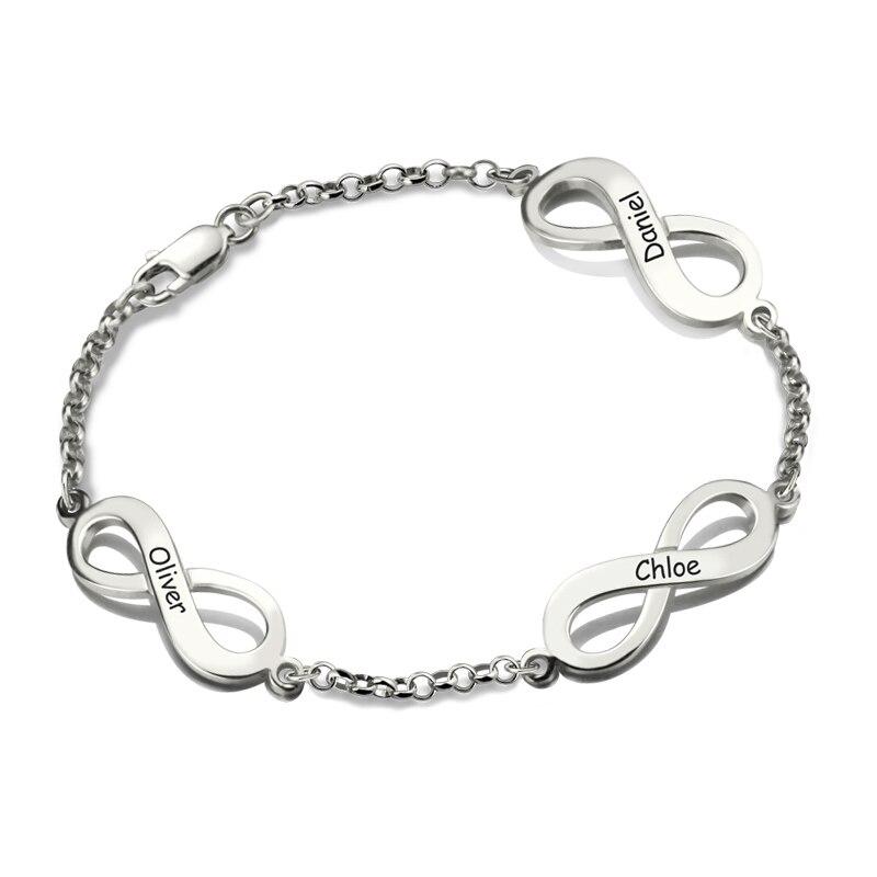 AILIN Серебряный браслет Бесконечность ручной штампованный бренд браслет Тройная Бесконечность с именами Символ браслет подарок на день мат