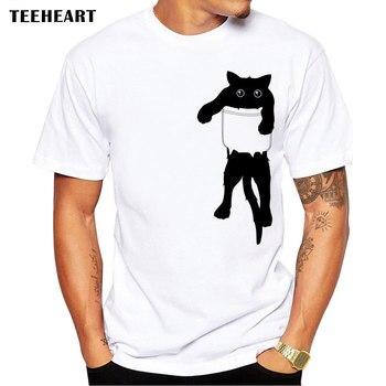 TEEHEART Лето 2017 г. Забавный кот в кармане дизайн футболка мужские животные графика печатных топы хипстер футболки la661
