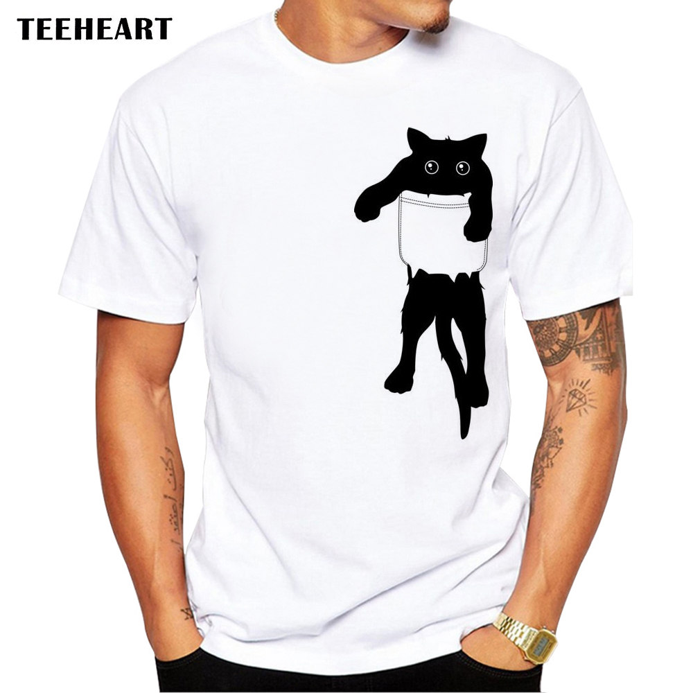 TEEHEART 2017 Summer Funny Cat in Pocket Design T Shirt Men s Animal Graphics Printed Tops