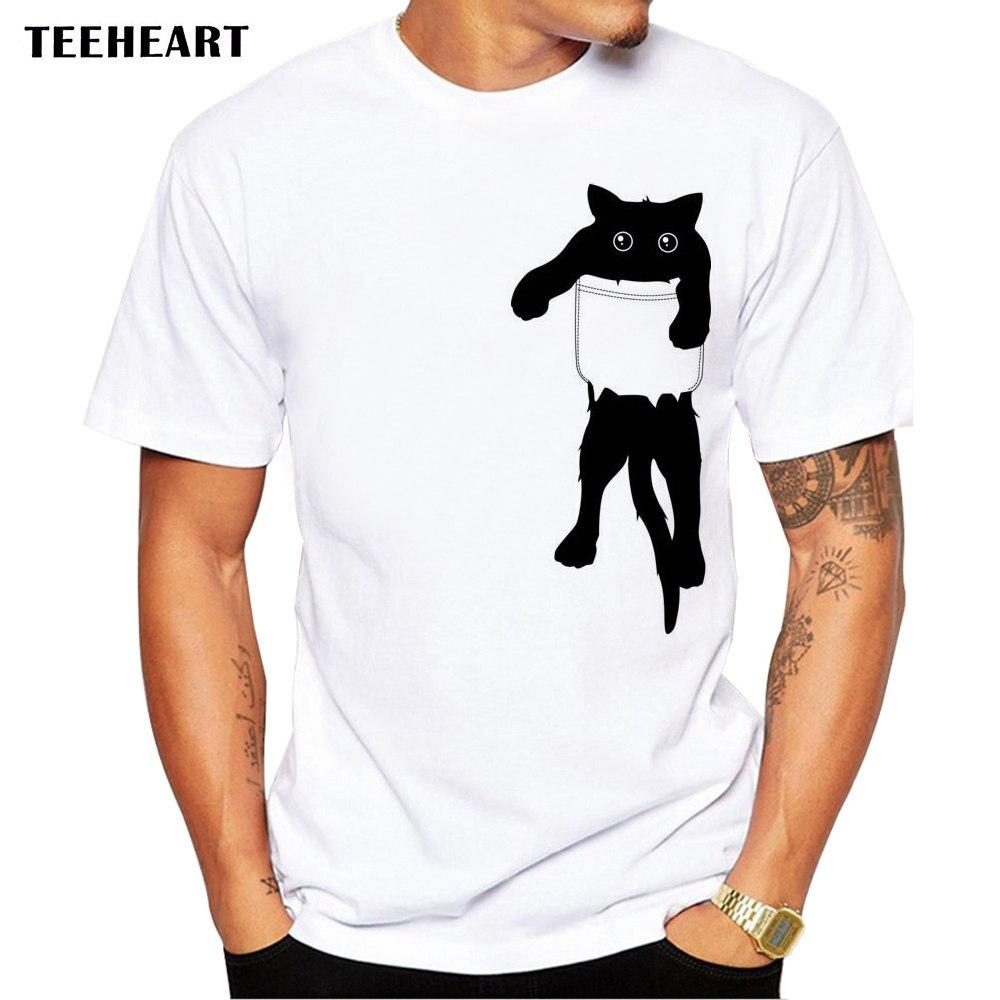TEEHEART 2017 Verano Divertido gato en bolsillo diseño camiseta hombres animales gráficos impresos Tops Hipster camisetas la661